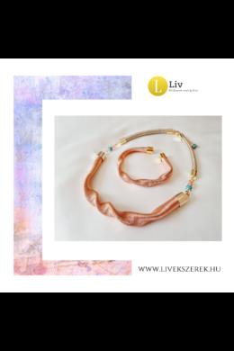 Barackvirág színű,  egyedi, kézműves, designer,  hullám nyaklánc, karkötő ékszerszett  - Liv Ékszerek, ékszer