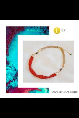 Narancssárga, egyedi, kézműves, designer, hullám nyaklánc - Liv Ékszerek, ékszer