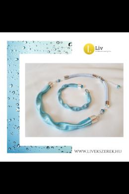 """Türkiz,  ezüst színű, egyedi, kézműves, designer """"hullám"""" nyaklánc, karkötő ékszerszett  - Liv Ékszerek,  ékszer ."""