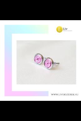 Pasztell rózsaszín, kézműves pont fülbevaló - Liv Ékszerek, ékszer