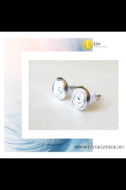 Ezüst színű, kézműves pont fülbevaló - Liv Ékszerek, ékszer
