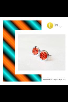 Narancssárga, kézműves pont fülbevaló - Liv Ékszerek, ékszer