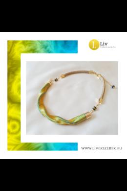 Sárga, kék csíkos, kézműves  hullám nyaklánc - Liv Ékszerek, ékszer