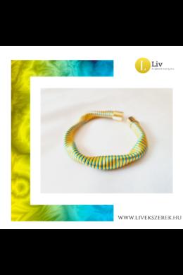 Sárga, kék csíkos, kézműves  hullám karkötő - Liv Ékszerek, ékszer