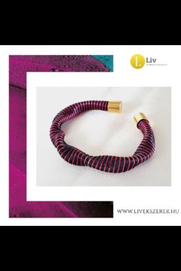 Fekete, orchidea rózsaszín,  egyedi, kézműves hullám karkötő - Liv Ékszerek, ékszer