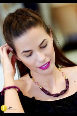 Fekete, orchidea rózsaszín,  egyedi, kézműves hullám nyaklánc - Liv Ékszerek, ékszer