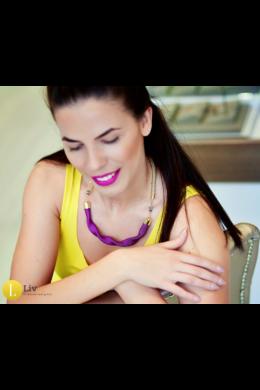 Lila színű, matt, kézműves hullám nyaklánc - Liv Ékszerek, ékszer