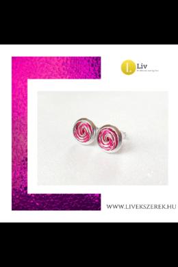 Fuxia, ezüst színű, kézműves, pont fülbevaló  - Liv Ékszerek, ékszer