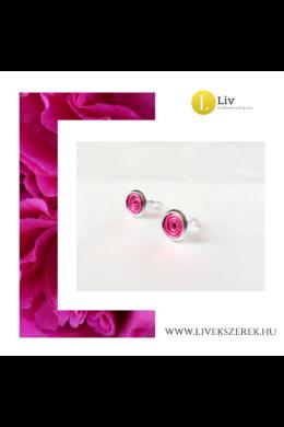 Orchidea rózsaszín,  kézműves, pont fülbevaló - Liv Ékszerek, ékszer
