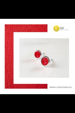 Piros, kézműves,  pont fülbevaló - Liv Ékszerek, ékszer