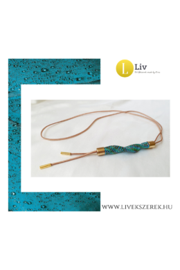 Kék, zöld színű, egyedi, kézműves, páva, hullám, hosszú nyaklánc - Liv Ékszerek