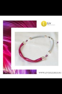 Rózsaszín, piros, lila, egyedi, kézműves, designer nyaklánc - Liv Ékszerek