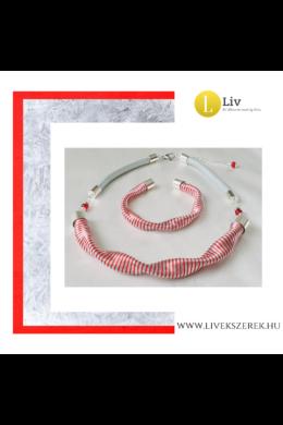 Piros, ezüst színű, egyedi, kézműves nyaklánc, és/vagy hosszú nyaklánc, karkötő  - Liv Ékszerek, ékszer
