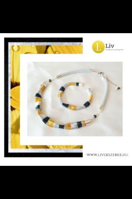 Sárga, fekete, ezüst színű, egyedi, kézműves karkötő, és/vagy nyaklánc - Liv Ékszerek, ékszer
