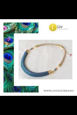 Kék, zöld, lila színű egyedi mintás, kézműves designer nyaklánc - Liv Ékszerek