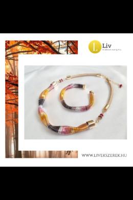 Színes,  szivárványos, őszi kézműves nyaklánc - Liv Ékszerek, ékszer