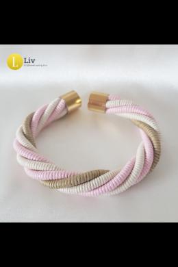 Pasztell rózsaszín, bézs, fehér,  egyedi kézműves, pamut csavart karkötő