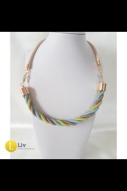 Türkiz, neonsárga, bézs, fém szállal tekert, egyedi, kézműves  csavart nyaklánc