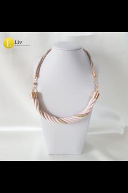 Pasztell rózsaszín, fehér, bézs, egyedi, kézműves, pamut csavart nyaklánc