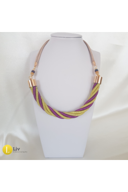 Neonsárga, lila, egyedi, kézműves, csavart, fém nyaklánc