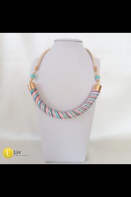 Türkiz-lazac színű ,egyedi kézműves pamut nyaklánc
