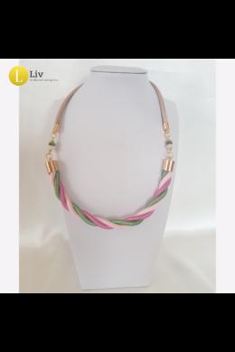 Rózsaszín, kiwi zöld,  egyedi, kézműves, csavart, design nyaklánc