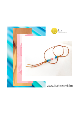 Kék, fehér, rózsaszín, őzbarna, egyedi, kézműves, designer, hosszú nyaklánc - Liv Ékszerek, ékszer