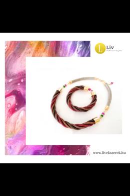 Rózsaszín, barna, zöld színű, egyedi, kézműves, designer csavart nyaklánc, karkötő ékszerszett - Liv Ékszerek, ékszer