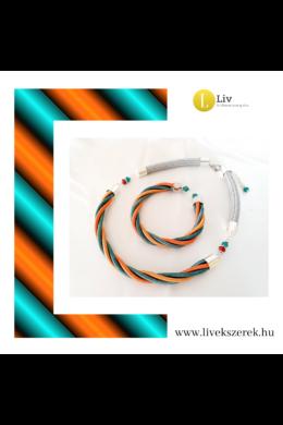 Türkiz, narancssárga, ezüst színű, egyedi, kézműves, designer csavart nyaklánc, karkötő, ékszerszett - Liv Ékszerek, ékszer.