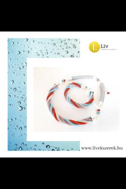Türkiz, piros, ezüst színű, egyedi, kézműves, designer csavart nyaklánc, karkötő ékszerszett - Liv Ékszerek, ékszer