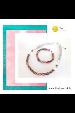 Rózsaszín, zöld, arany, barna, egyedi, kézműves, designer csavart nyaklánc, karkötő, ékszerszett - Liv Ékszerek, ékszer.