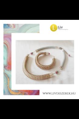 Almazöld, rózsaszín, sárga,egyedi mintás, kézműves,  designer nyaklánc és/vagykarkötő - Liv Ékszerek, ékszer