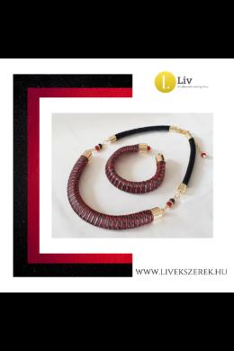 Fekete, piros, egyedi mintás, kézműves, designer nyaklánc és/vagy karkötő, ékszerszett - Liv Ékszerek, ékszer