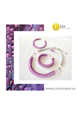 Lila, ezüst, 3D-s, egyedi, kézműves, designer karkötő és/vagy nyaklánc, ékszerszett - Liv Ékszerek, ékszer