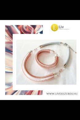 Rosegold, ezüst színű, egyedi, kézműves, 3D-s karkötő és/vagy nyaklánc, ékszerszett  - Liv Ékszerek, ékszer