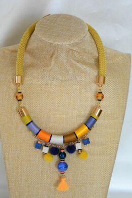 Mustár- kék,  egyedi, kézműves pamut nyaklánc, nyakék