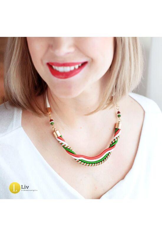 Magyar trikolor, piros, fehér, zöld, egyedi, kézműves csavart nyaklánc,  ékszer- Liv Ékszerek