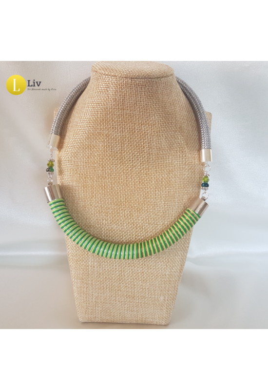 Zöld, ezüst, réz, egyedi kézműves design nyaklánc