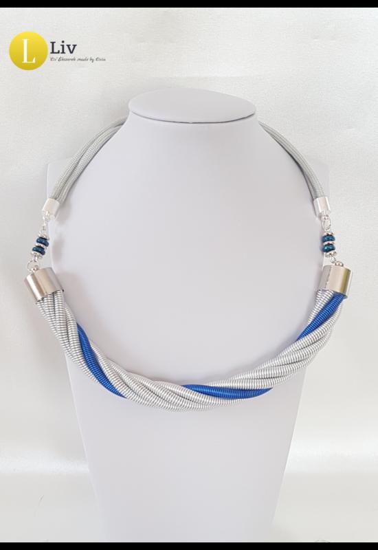 Ezüst, kék, egyedi, kézműves, fém, csavart nyaklánc