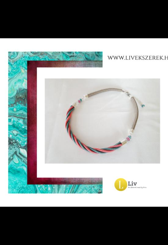 Rózsaszín, türkiz, ezüst színű, egyedi, kézműves, designer csavart nyaklánc - Liv Ékszerek,  ékszer