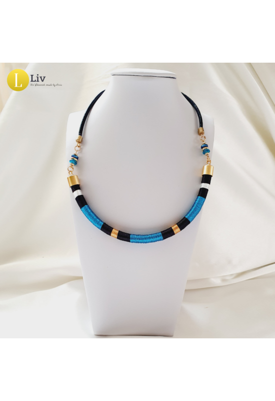 Kék, fekete, arany színű, egyedi, kézműves, design nyaklánc - Liv Ékszerek , ékszer