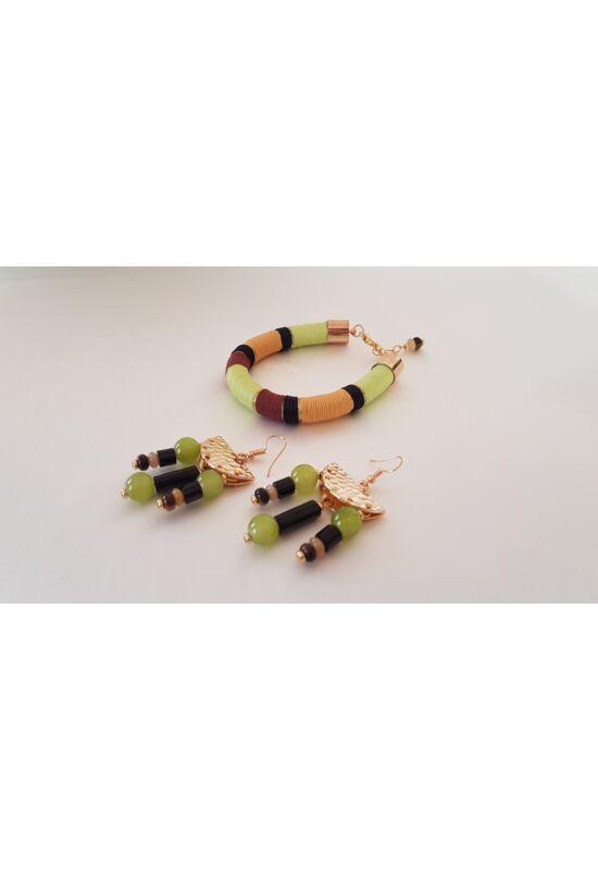 Fekete -oliva -arany karkötő, fülbevaló, egyedi, kézműves ékszerszett