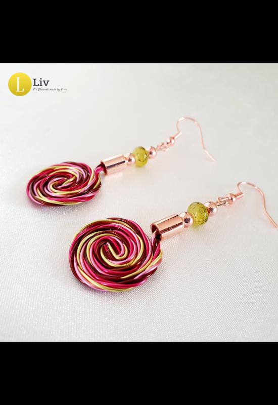 Bordó, neonsárga, rózsaszín, egyedi, kézműves, designer, fém, csiga fülbevaló - Liv Ékszerek, ékszer
