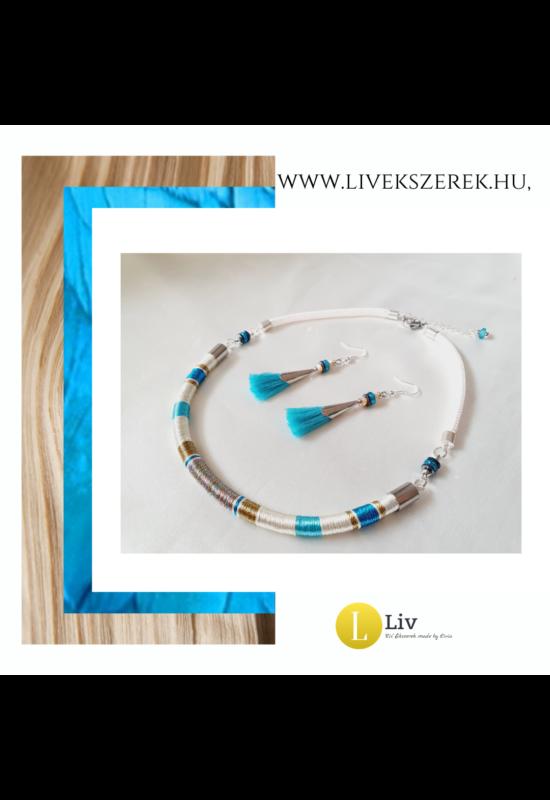 Kék, fehér, bronz színű,,egyedi, kézműves, designer selyem nyaklánc - Liv Ékszerek, ékszer