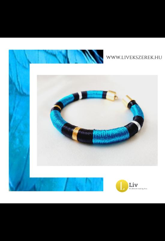 Kék, fekete, arany színű, egyedi, kézműves, designer karkötő - Liv Ékszerek , ékszer.