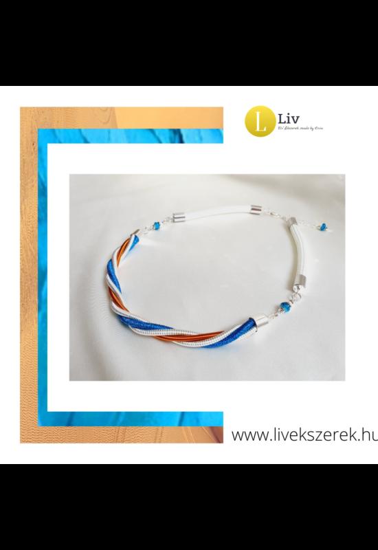 Kék, fehér, őzbarna, ezüst színű,  egyedi, kézműves, designer csavart nyaklánc - Liv Ékszerek, ékszer