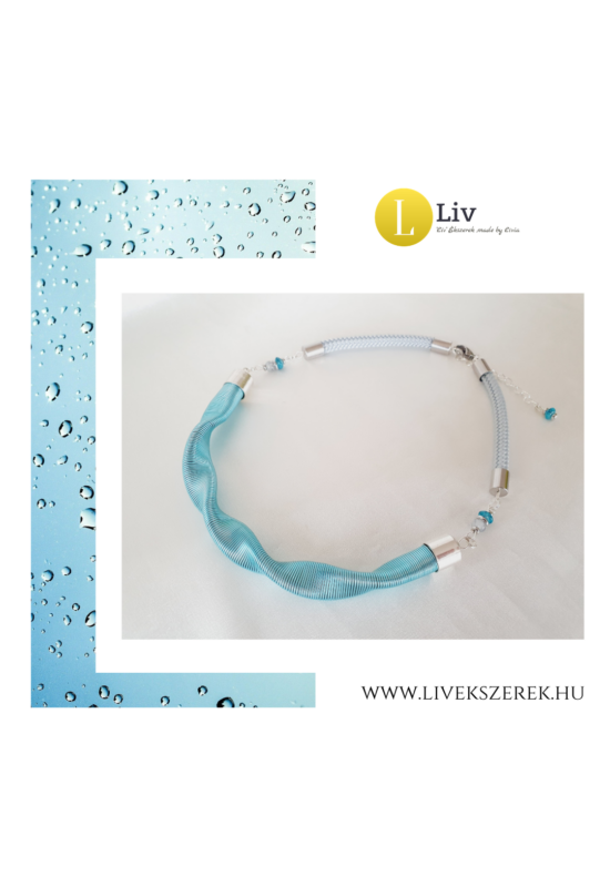 """Türkiz,  ezüst színű, egyedi, kézműves, designer """"hullám"""" nyaklánc - Liv Ékszerek,  ékszer ."""