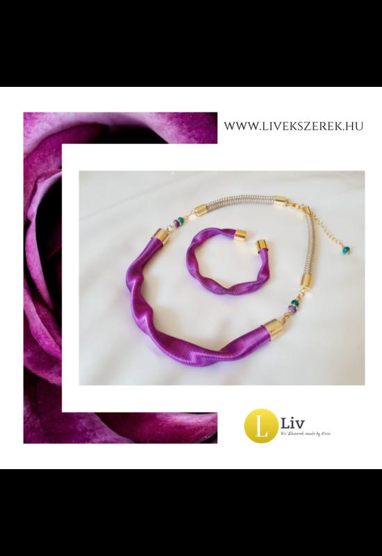 Lila színű, egyedi, kézműves, designer hullám nyaklánc, karkötő, ékszerszett  - Liv Ékszerek, ékszer