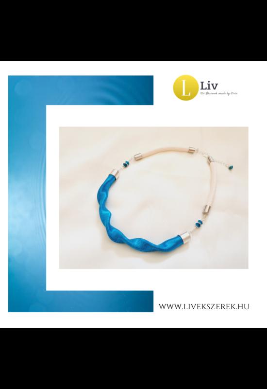 Égszínkék, ezüst színű, egyedi, kézműves, designer, hullám nyaklánc - Liv Ékszerek, ékszer
