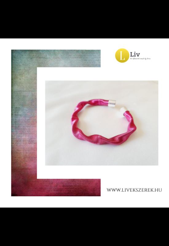 Orchidea rózsaszín, egyedi, kézműves, designer hullám karkötő - Liv Ékszerek, ékszer